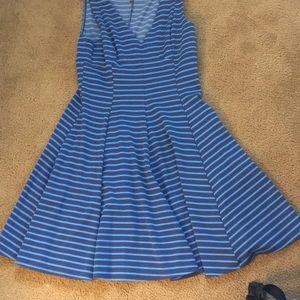 Dark/light blue striped dress